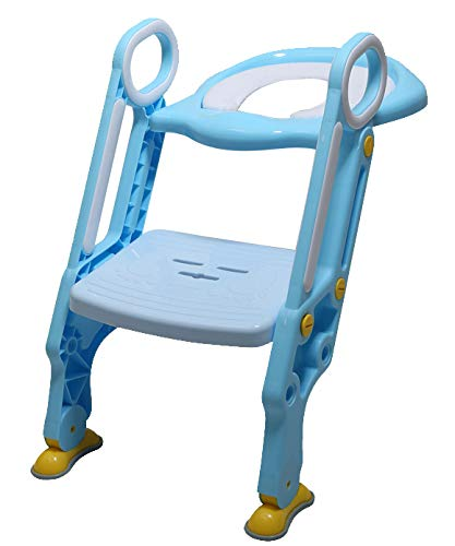 Potty Training Seat with Ladder Adjustable Step Stool Non-Slip Handle Baby Toddler Kid Potty Toilet Seat for Boy and Girl Children's Toilet seat for Potty Training - Infant Toddler Step Stool