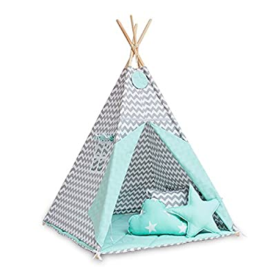Teepee tent with floor mat and pillows - Fresh Mint