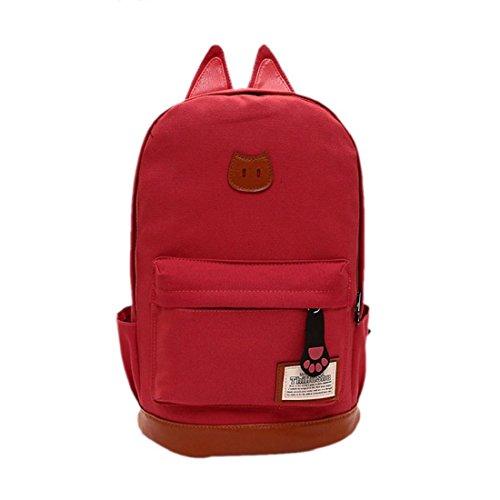 Tongshi hombres mujeres jóvenes Campus Girls viaje Mochila los bolsos de escuela Bolsas de deporte (Negro) Rojo de la sandía