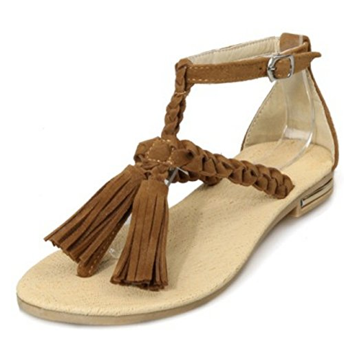 Shoes Brown Gladiator Classic Thongs Women Fringed Sandals Flats LongFengMa xngAqp0Twn
