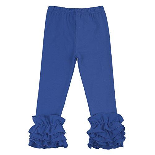 Little Girl's Double Icing Ruffle Leggings Toddler Girl Triple Cotton Boutique Elastic Waist Slacks Joggers Activewear Royal Blue 3-6 Months