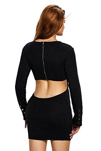 Nueva mujer negro parte trasera abierta Jersey Vestido Oficina Vestido Casual noche fiesta wear tamaño UK 10–�?2EU 38–�?0