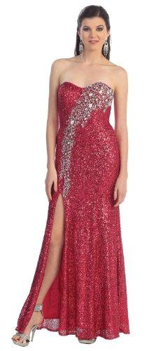Beaded evening gown-RASPBERRY-16