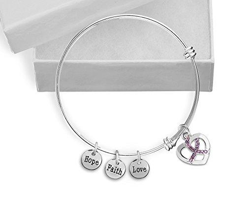 - Breast Cancer Awareness Pink Crystal Ribbon Retractable Charm Bracelet (1 Bracelet - Retail)