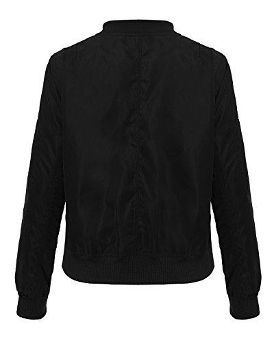 Zipper Noir Manches Baseball Veste Casual Slim Blouson Manteau Longues Femme Bomber StyleDome Vintage tqRECw7W