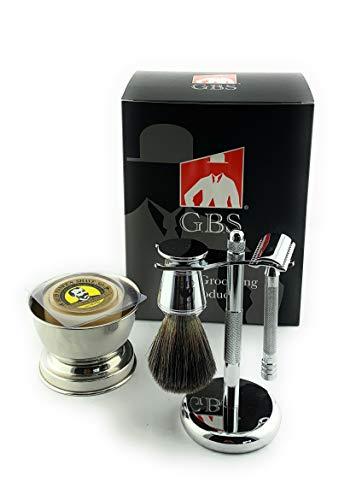 G.B.S GBS Shaving Gift Set with Merkur Safety Razor, Bowl, Shaving Soap, Badger Brush, Stand and Safety Razor…