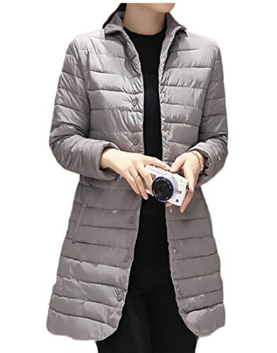 Jacket Collar Gery Puffer EKU Lightweight Down Quilted Stand Slim Coat Long Women's wHwAXq7T