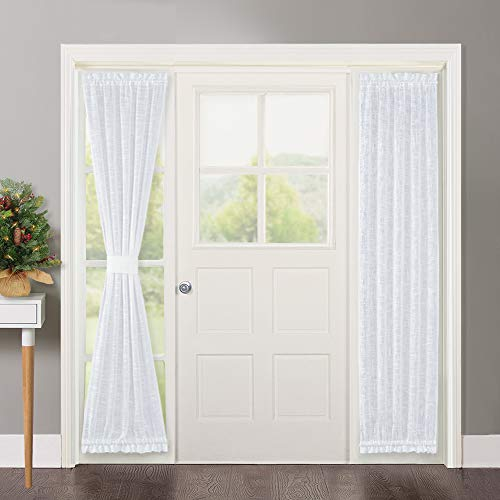 NICETOWN Sidelight French Door Panel - Linen Textured Look Translucent Privacy Door Side Ligt Sheer Front Door Curtain Including Bonus Tieback, 30 Inch Wide x 72 inch Long, White