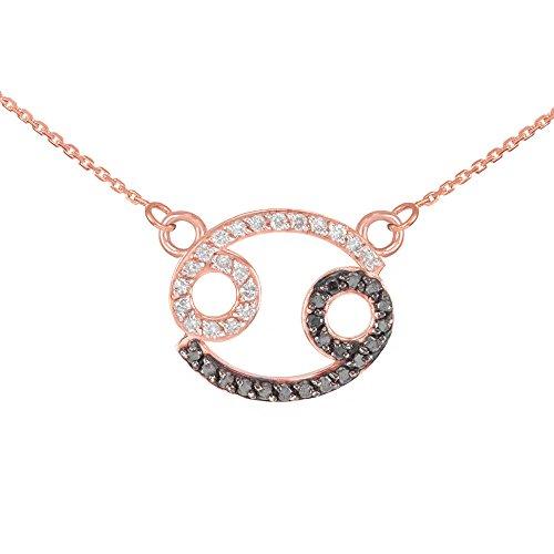 Collier Femme Pendentif 14 ct Or Rose Cancer Signe Du Zodiaque Noir Diamant (Livré avec une 45cm Chaîne)