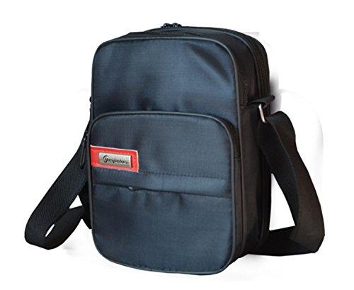 Yulan moda uomo retro leggero piccolo Cross Body borsa Satchel (17cm (W) x 23.5cm (H) x 9cm (D), nero)