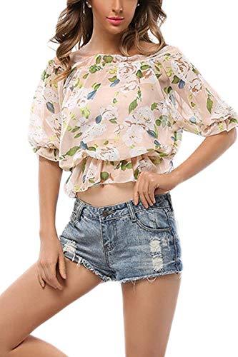 Top Vintage Floral Crop Eleganti Corta Collo Semplice Moda Manica Donna Casual Shirts Senza Chiffon Ventre Glamorous Barca Fiore Senza Blusa Spalline Camicetta Stampa della Estivi zvxfWvnP