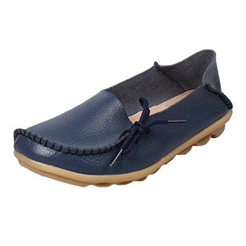 Heheja Mujer Mocasines de Cuero Loafers Casual Piso Zapatos Zapatillas con Bowknot Azul Oscuro