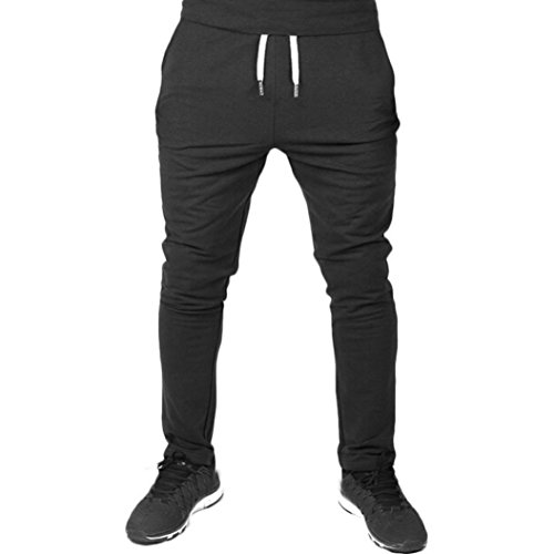 GoodLock Clearance! Men Casual Elastic Fitness Pants Sportswear Workout Running Gym Pants Trousers (Black, XX-Large)