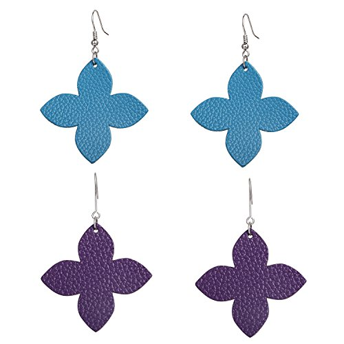 - Genuine Leather Leaf Clover Earrings Hollow Teardrop Petal 4 Leaves Shaped Drop Bohemian Earrings For Women (Turquoise+Purple)