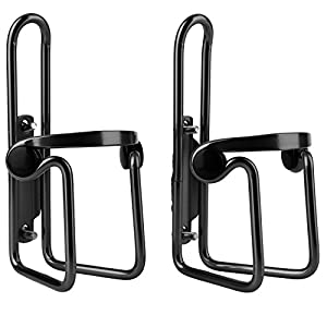 Reehut Bike Water Bottle Cages (2-Pack), Lightweight Aluminum Alloy Bicycle Water Bottle Holder Brackets for Outdoor Activities - Black