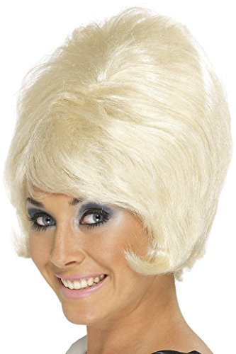 Beehive Wig Blonde (Smiffy's Women's 60's Beehive Wig, Short and Blonde Wig, One Size, 42273)