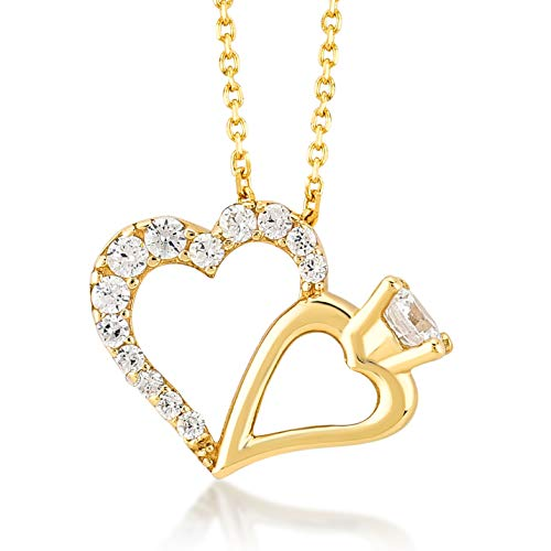 Gelin 14k Real Gold Heart and Ring Pendant Necklace with Cubic Zirconia - A Certified Perfect Surprise Gift for Women, 18 inc