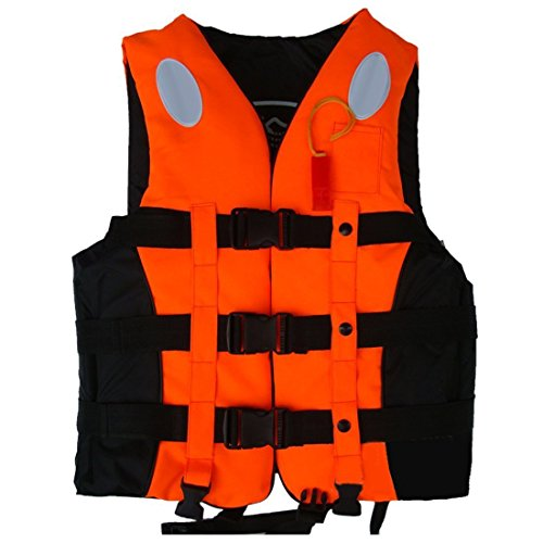 Life Jacket Life Vests Swimming Vest Children and Adult Life Jacket Buoyancy Aid Universal Swimming Boating Kayaking Life Vest+Whistle (Orange, M 6-12 Years Old)