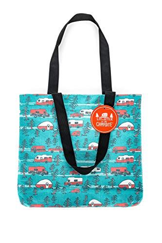 Camco Life is Better at The Campsite Canvas Tote Magnetic Closure-Perfect as a Reusable Grocery, Beach Bag, and More-Teal Blue with Retro RV Sketch Design (53269)