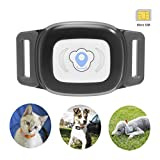 BARTUN Mini Pet Tracker GPS Locator for Dogs Cats 28lb Waterproof IP67 Real Time Activity Monitor AGPS LBS SMS Positioning Tracking Device with Collar Inclued SIM Card (Black)