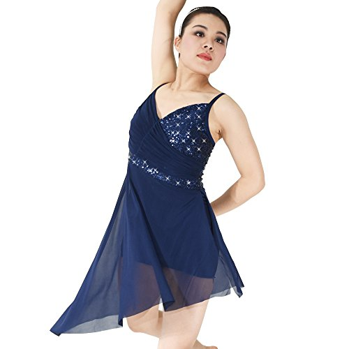 [MiDee Girl's V-Neck Sequined High-Low Latin Dress Lyrical Dance Costume (SA, Navy Blue)] (Dance Costumes For Competition For Adults)