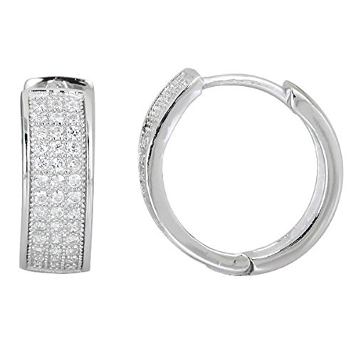 Decadence Women's Sterling Silver 3 Row Micropave Huggies Hoop Earrings, One Size