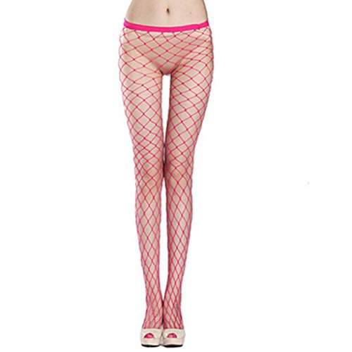 Afco Fashion Street Style Women Sexy Fishnet Hollow Pantyhose Punk Stockings Vogue One Size - Rose (Red Fishnets)