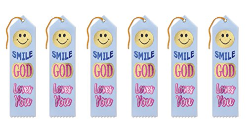 Beistle AR801 Smile God Loves You Ribbons, 2 by 8-Inch, 6-Pack]()