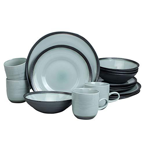 - Euro Ceramica DIA-1001-DS Diana Dinnerware Set, 16 Piece, Graphite Grey and Soft Turquoise