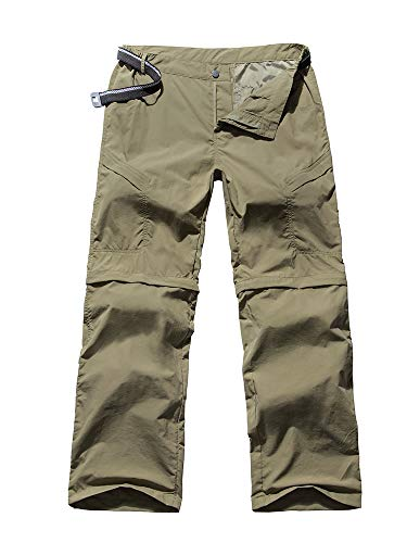 Women's Outdoor Anytime Quick Dry Cargo Pants Convertible Hiking Camping Fishing Zip Off Trousers #6063-Khaki, XS 26