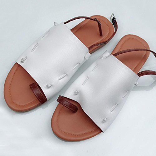 HUHU833 Summer Women Flat-Bottomed Roman Open Ankle Flat Straps Platform Wedges Sandals Beige qfaTjmaM