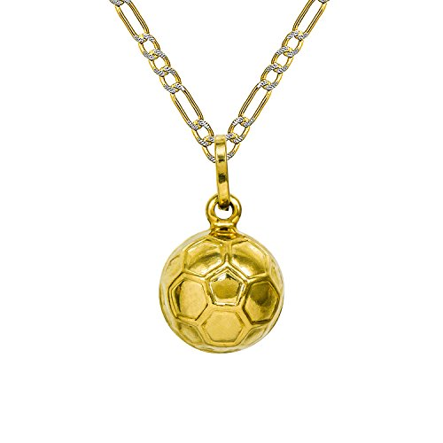 14K Yellow Gold Soccer Ball Pendant Necklace (16 Inches, White Pave Figaro Hollow Chain) 14k Yellow Gold Soccer Ball