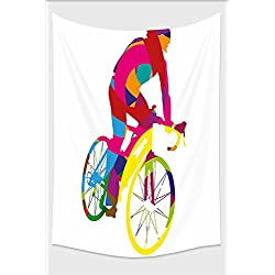 Nalahome-Modern Decor Rainbow Colored Cyclist Bicycle Sports Spinng Bike Tour De France Themed Image Multicolor Tapestry Wall Hanging Wall Tapestries 10L x 8W Inches