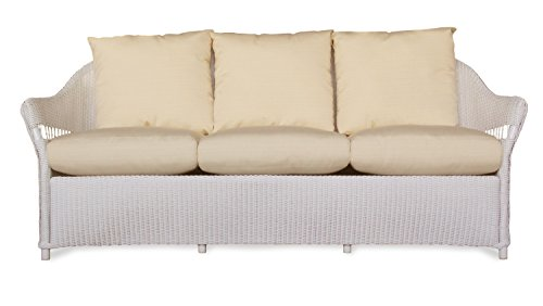 Lloyd Flanders 72255-001-922 Freeport Collection Sofa in White Loom Finish, Canvas Air Blue (Lloyd Flanders Wicker)