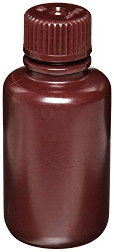 Nalgene 2004-0004 HDPE Amber Lab Quality Narrow Mouth Bottle with Amber Polypropylene Screw Type Closure, 125ml Capacity (Case of 72)