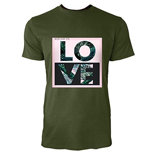 SINUS ART® Typographie Love mit Palmblättern Herren T-Shirts in Armee Grün Fun Shirt mit tollen Aufdruck