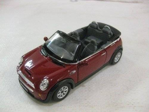 Mini Cooper S Convertible In Maroon Diecast 1:28 Scale By Kinsmart .HN#GG_634T6344 G134548TY32551