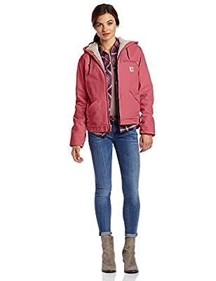 Carhartt Women's Sherpa Lined Sandstone Sierra Jacket Zip Front Hooded WJ141