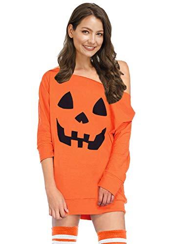 Pumpkin Spice Costume (Halloween Womens Pumpkin Off Shoulder Sweatshirt Orange 3/4 Sleeve Pullover Tops)