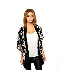 Lookatool Women's Floral Printed Splice Chiffon Shawl Kimono Cardigan Tops Cover up