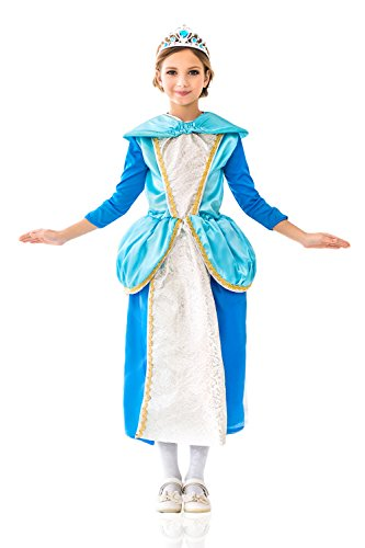 Storybook 3 Piece Costumes (Kids Girls Costume Enchanted Storybook Princess Magic Fairy Tale Party Dress Up (3-6 years, Blue, White, Silver, Golden))