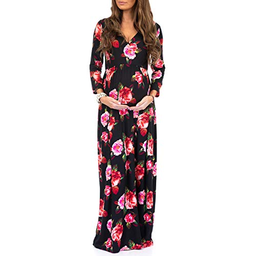 (Women's Wraped Ruched Maternity Dress - Made in USA)