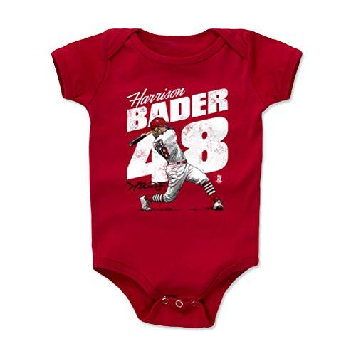 500 LEVEL Harrison Bader St. Louis Baseball Baby Clothes, Onesie, Creeper, Bodysuit (12-18 Months, Red) - Harrison Bader Home Run W - Run 500 Home Baseball
