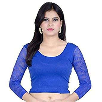 d738ee28bf80a Blue Color Stretchable And Full Sleeves Net Lycra Women s Saree Blouse Top  Choli