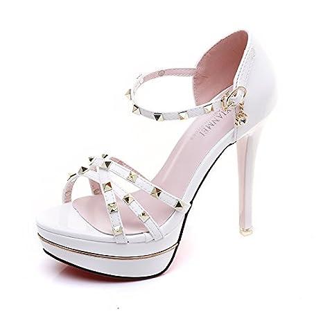 GTVERNH-estate uno spessore di dodici centimetri super tacchi i sandali lavoro tacchi a spillo affascinante la cintura tallone sandali. 36…