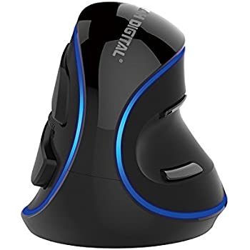 J-Tech Digital V628 (Gen2)Scroll Endurance Mouse Ergonomic Vertical USB Mouse with Adjustable Sensitivity (600/1000/1600 DPI), Removable Palm Rest & Thumb Buttons -(Wired with Blue LED)