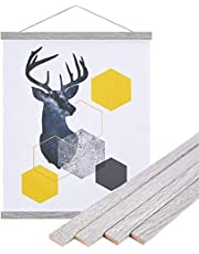 "Benjia Magnetic Poster Hanger, 31 x 20 31 x 36 31x21 Poster Frame Wood Wooden Magnet Print Posters Dowel Scroll Hanger Hangers Hanging Kit for Walls Map Canvas Artwork (Grey, 31"")"