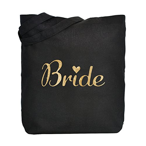 100 Algodón Dorada Bolsa Boda Regalo Escritura Mano Novia De Negro Lona Bride Pack Bolso Elegantpark 1 18zqSW