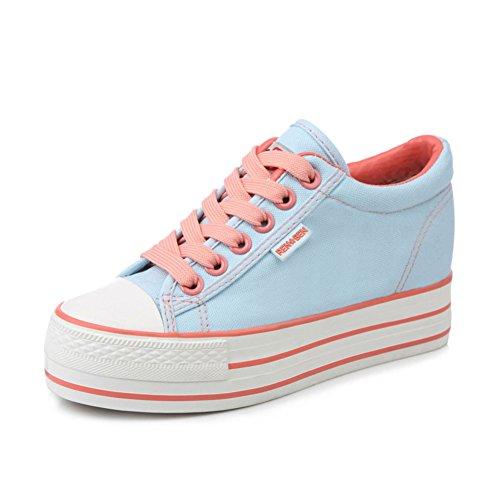 Aumentado en las mujeres de zapatillas de color caramelo/Zapatos del estudiante sólido suela gruesa plataforma/Zapatos de cordones de mujer B