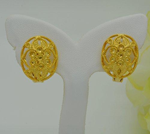 22k Earrings (Gorgeous 22k 23k 24k Yellow Gold Plated Women Girl Stud Earrings Round Filigree 15 mm)